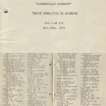 Índice Cumulativo de Assuntos - Setembro-Dezembro 1975
