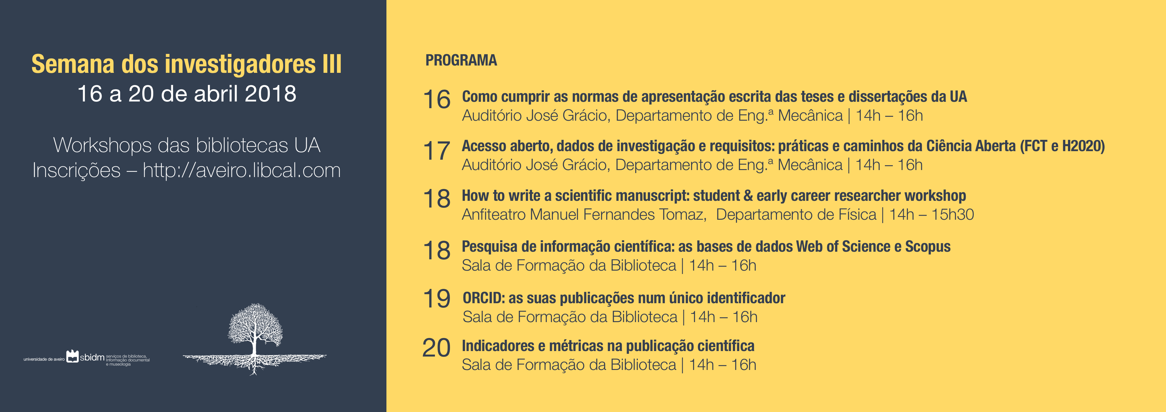 Workshops para investigadores das bibliotecas da UA