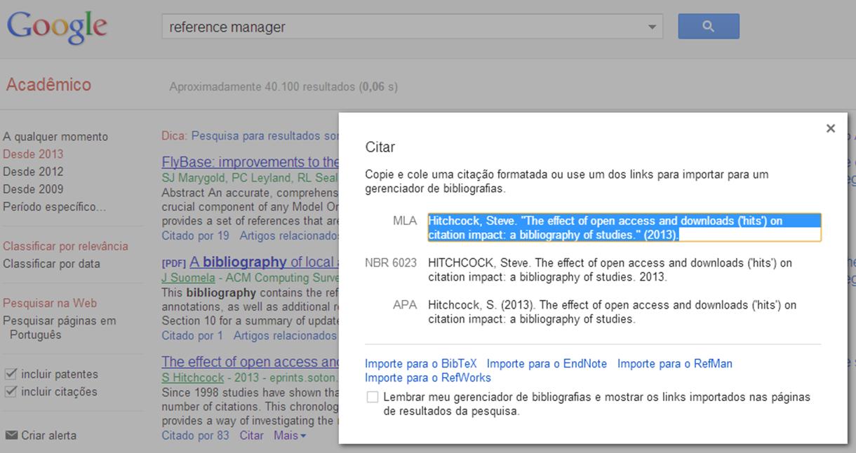Referncias bibliogrficas com o google scholar a biblioteca informa googlescholar stopboris Choice Image