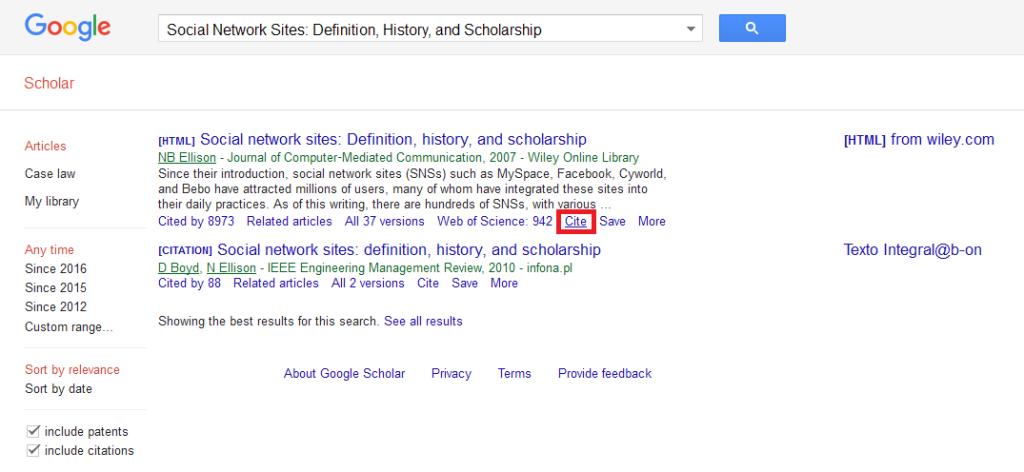 Opção 'Cite' do Google Scholar