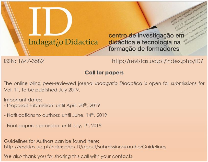 Call for papers   Indagatio Didactica, volume 11, julho 2019