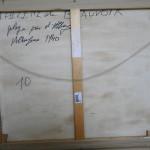 """Costas da tela """"Plage près d'Albufeira"""" escrita pela própria pintora"""
